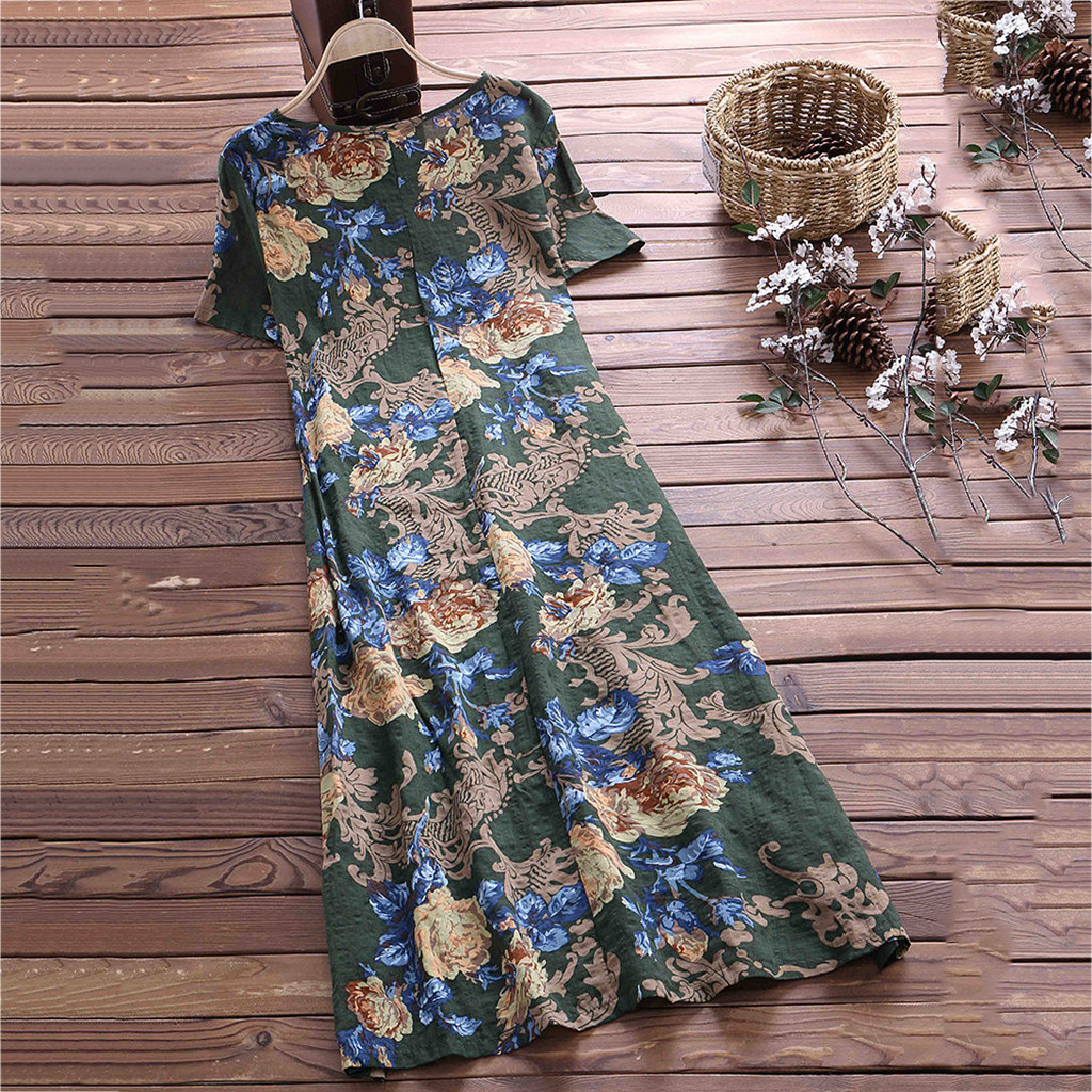 2020 Summer Dress Floral Print Boho Beach Dress Tunic Maxi Dress Women Evening Party Dress Sundress Vestidos de festa
