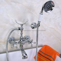 Polished Chrome Dual Handles Bathtub Faucet Wall Mounted Swive Spout with Handshower Tub Mixer Tap Bna224