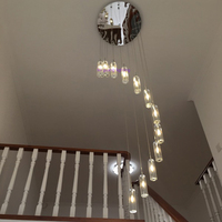led modern living room lamps crystal pendant lamp stairway lighting long crystal spiral hanging lamp lampara techo colgante G4