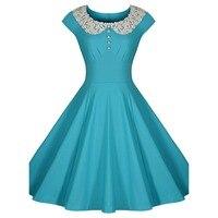 Audrey Hepburn de la vendimia del remiendo del cordón delgado swing grande ocasionales de las mujeres de noche vestidos de fiesta robe de vestidos de fiesta 800233