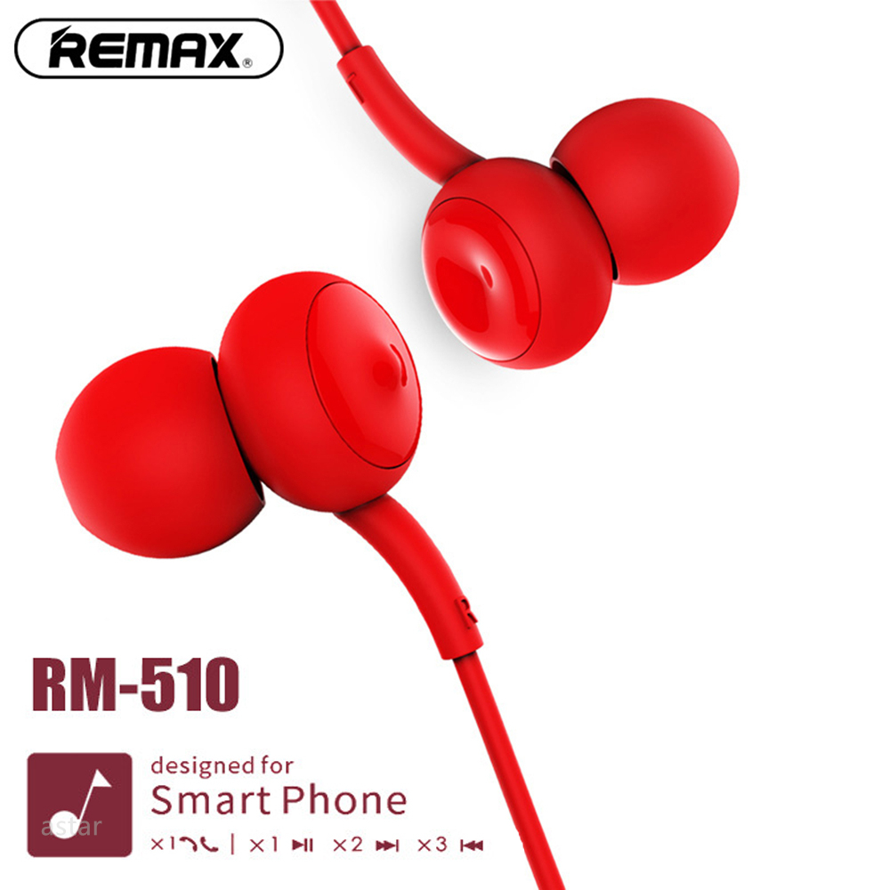 Remax 510 in-ear colorful earphone 3.5mm aux with HD Mic one button control Headset for iphone 5s 6 6s for Xiaomi Redmi