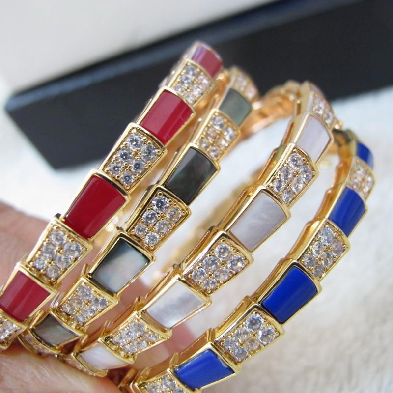 pulseras zircon cuff white gray red blue natrual stone narrow band bracelets bangles gold color jewelry