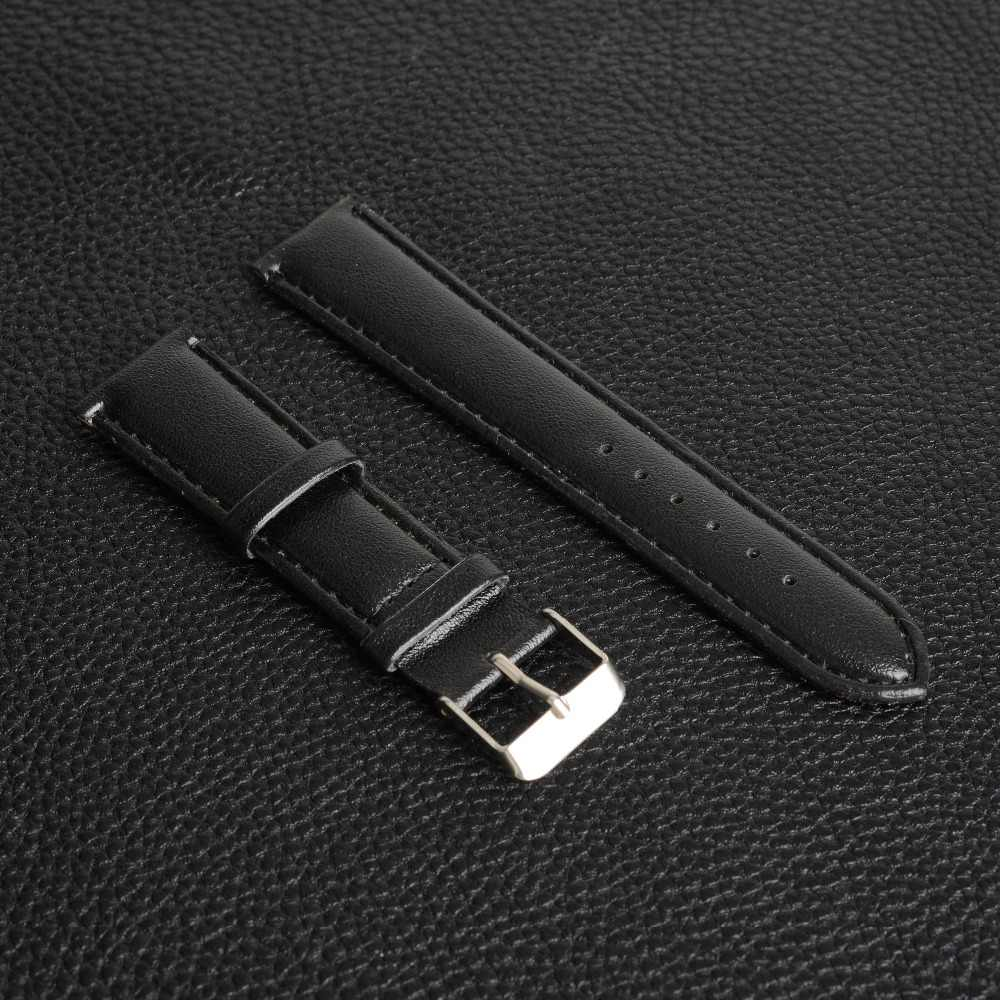 20mm Black Watchbands PU Leather Strap Belt Black Watch Band Men Women Dress Watches Band Relojes Hombre Birthday Xmas Gift