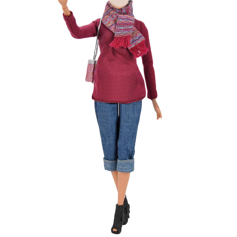 79f277cef9af 6 piezas Mini muñeca invierno suéter Tops pantalones abrigos gafas de sol  de alta zapatos de tacones bolso bufanda trajes Ropa Accesorios Para ...