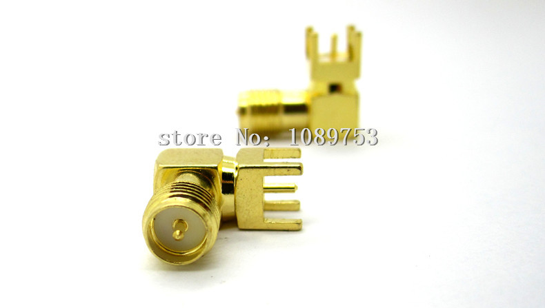 10PCS SMA male Thru Hole plug Right Angle 90 DEGREE SMA-KWE PCB Mount connector RF adapter