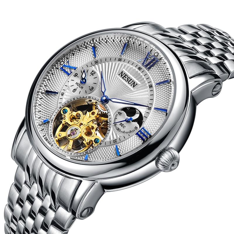 Switzerland Nesun Hollow Tourbillon Watch Men Luxury Brand Automatic Mechanical Men's Watches Sapphire Waterproof clock N9091-7