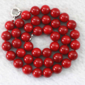 Fashion red artificial coral stone 8mm 10mm 12mm 14mm beautiful round loose beads handmade jewelry rope necklace 18inch B1015