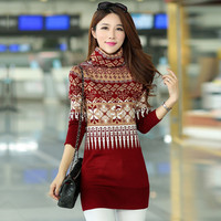 2016 Autumn Winter Plus Size Turtleneck Korean Slim Thicken Long Women Female Warm Wool Sweater S