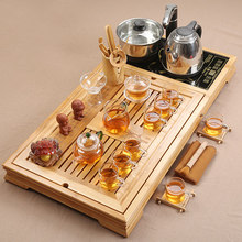 Glass Tea Set Home Kung Fu  Solid Wood Tea Tray Ceramic Teacup Teapot Induction Cooker Tea Table Tea Ceremony Gift preferred stainless steel tea table tempered glass tea table 1