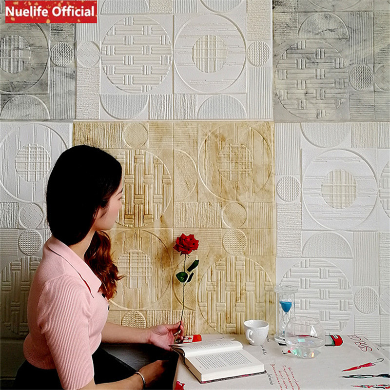 geometric pattern thick soft package wallpaper kids room living room bedroom shop anti collision waterproof foam wall stickers in Wall Stickers from Home Garden