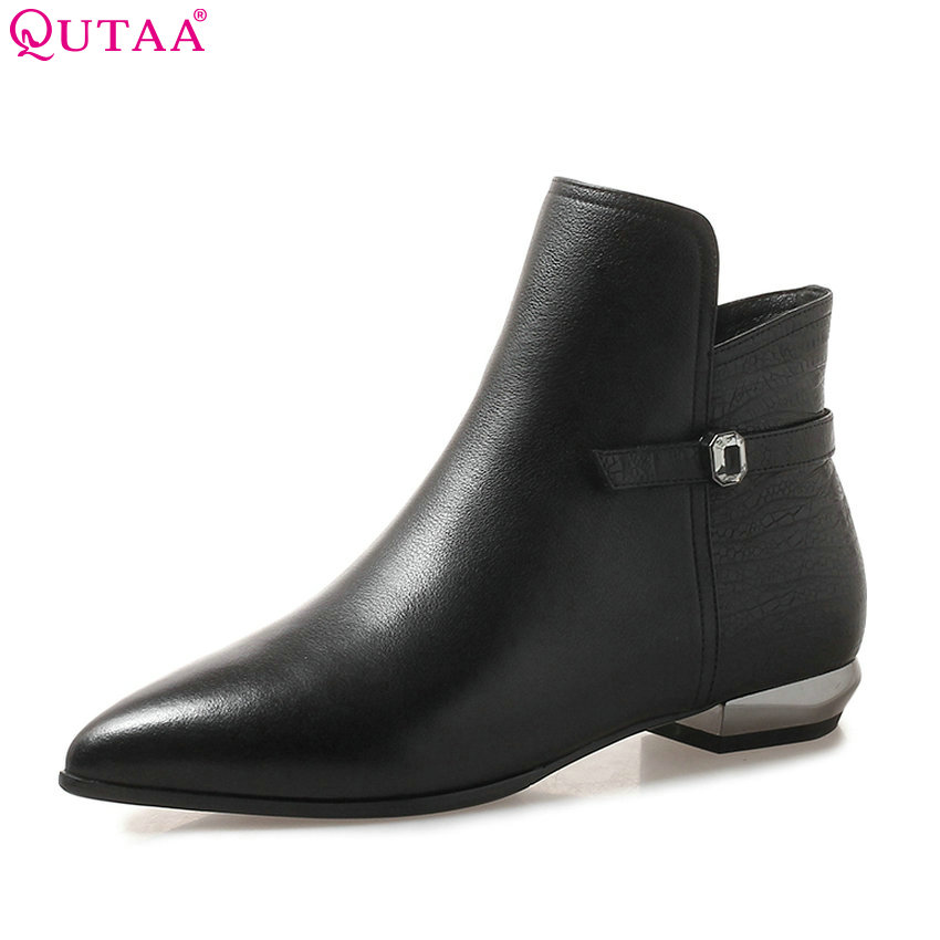 QUTAA 2019 Women Ankle Boots Cow Leather +pu Fashion Women Shoes Winter Boots Pointed Toe Zipper Women Boots Big Size 34-42QUTAA 2019 Women Ankle Boots Cow Leather +pu Fashion Women Shoes Winter Boots Pointed Toe Zipper Women Boots Big Size 34-42