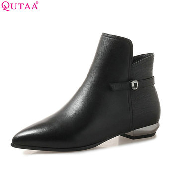 QUTAA 2019 Women Ankle Boots Cow Leather +pu Fashion Women Shoes Winter Boots Pointed Toe Zipper Women Boots Big Size 34-42