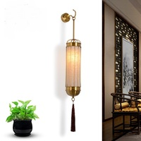 Chinese style wall lamps Chinese modern lamp bedside lamp room hotel staircase aisle lights wall light Retro cloth lamps ZA81464