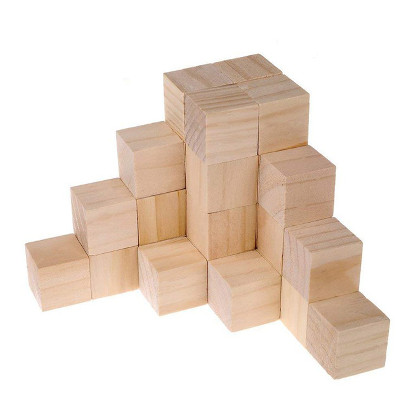 40pcs 15inch Natural Solid Wood Square Blocks Wood Cubes Wood Cube Blocks For Puzzle Making Crafts And Diy Projects