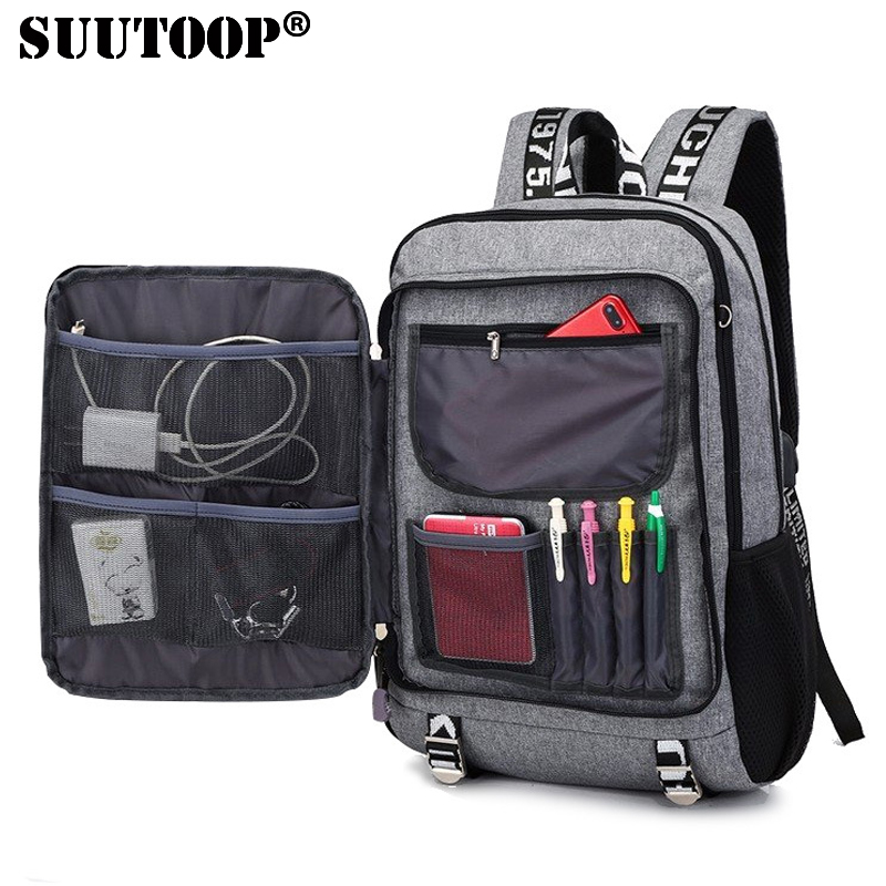 SUUTOOP new men youth fashion multifunctional oxford casual laptop backpack school usb charge waterproof travel bags male bolsa
