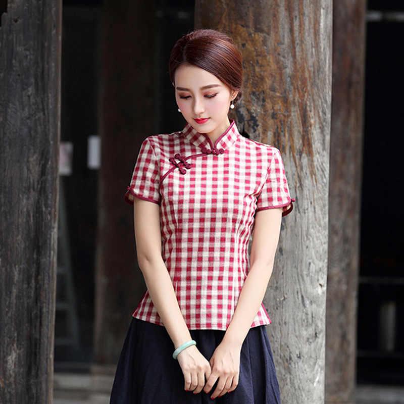 fb185eab2b Plaid Cheongsam Shirt 2018 Fashion Short Sleeves Traditional Chinese  Clothing For Women Mandarin Collar Shirt Chinese
