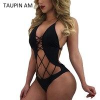 TAUPIN AM Sexy Lace Up Bodysuit Women Rompers Bandage Spandex Bodysuit Halter Neck Summer Off Shoulder