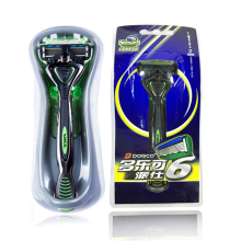 High Quality Original Genuine Dorco Pace 6 Men Manual Safety Razor 6-Layer Blade Beard 1dandle + 2 Blades + Box Holder