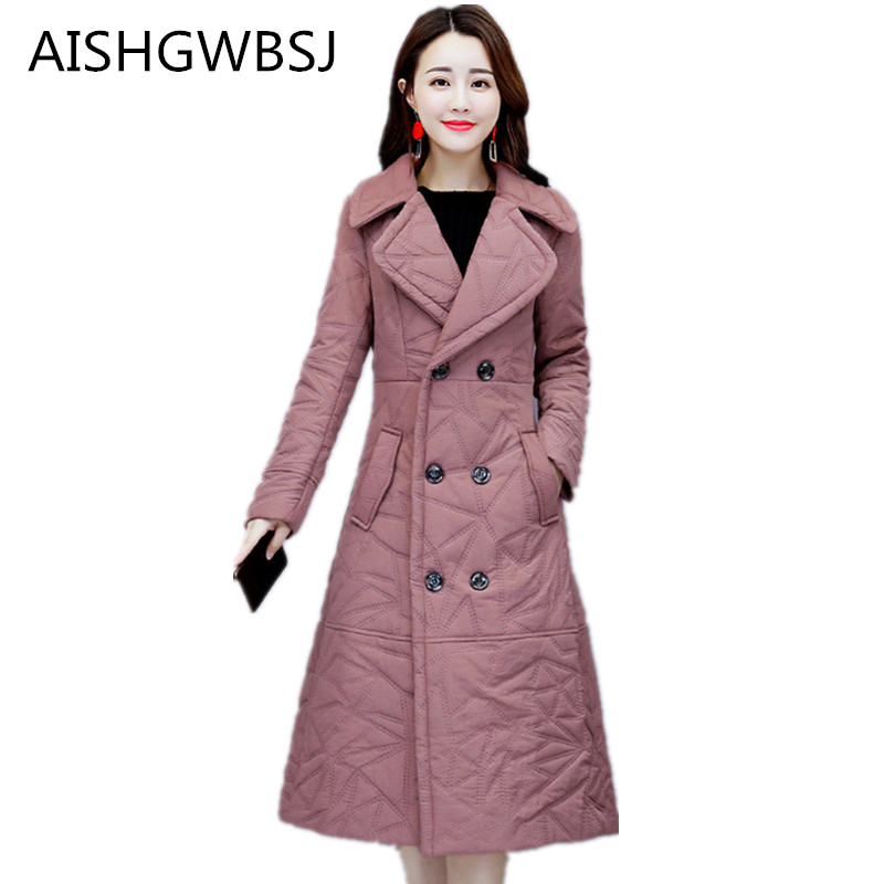 Manteau Épais Femmes Long Paragraphe Col Genou gray Le blue D'hiver Black pink Tq416 Dans Veste Chaud Mode Nouveau De Coton gray 2018 red Costume Tempérament Mince 8X5azqx