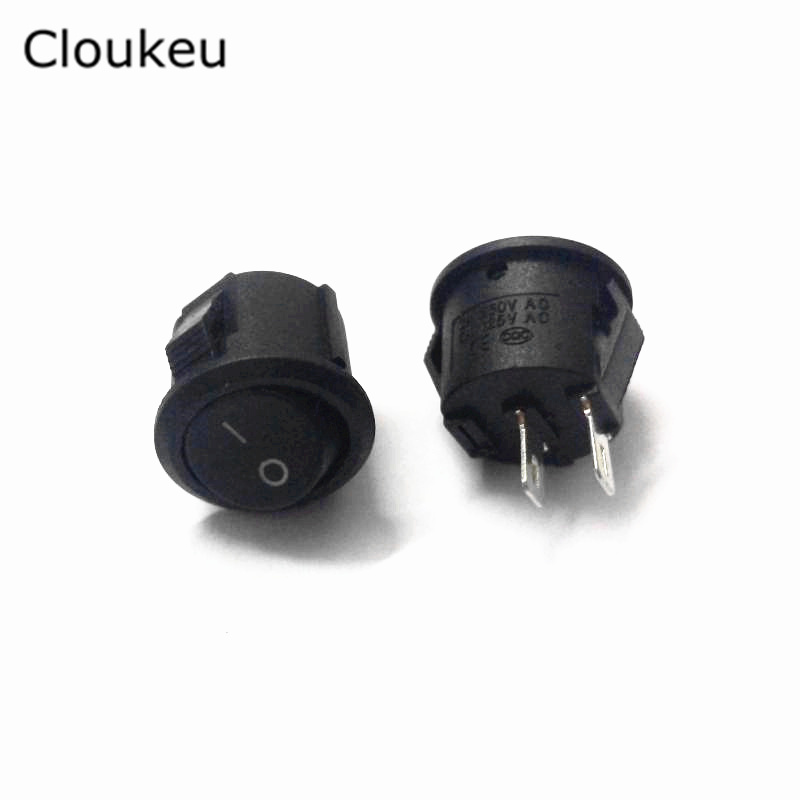 5* Small Round Black 2-Pin 2-Files 3A/250V 6A/125V Rocker Switch Seesaw Power Switch 5 pcs ac 6a 250v 10a 125v 3 pin black button on on round boat rocker switch