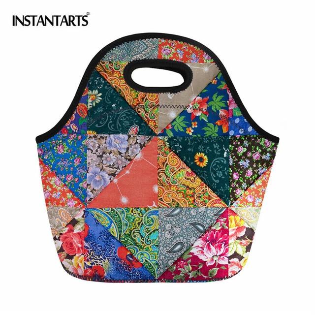 INSTANTARTS Camping Outdoor Picnic Basket Portable Folding Large Picnic Bag Basket Food Storage Bags Picnic Handbags Lunch Box