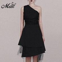 Max Spri 2019 New Sexy Lace Asymmetric Shoulder Solid Black Mini Party Dress Women Sleeveless Party Dress asymmetric shoulder solid pullover
