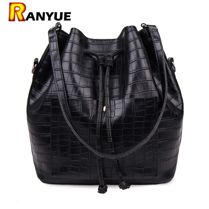 Cordón Bucket Bag PU de Cuero de cocodrilo Mujeres Messenger Bags Bolsa de Hombr