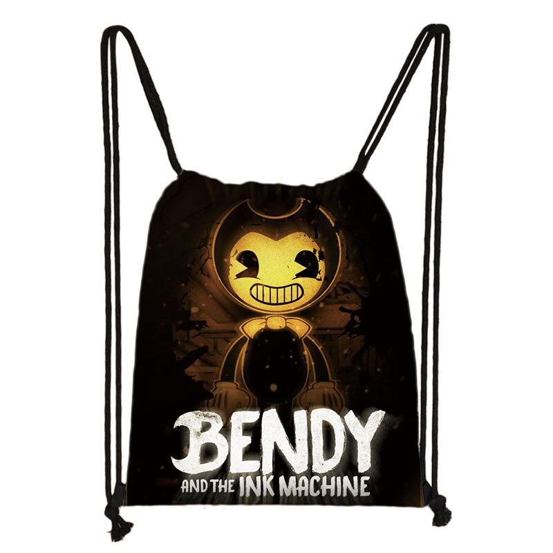 Bendy Cartoon Drawstring Bag Printing Backpack Daily Casual Boys Girls Knapsack Drawstring Bags