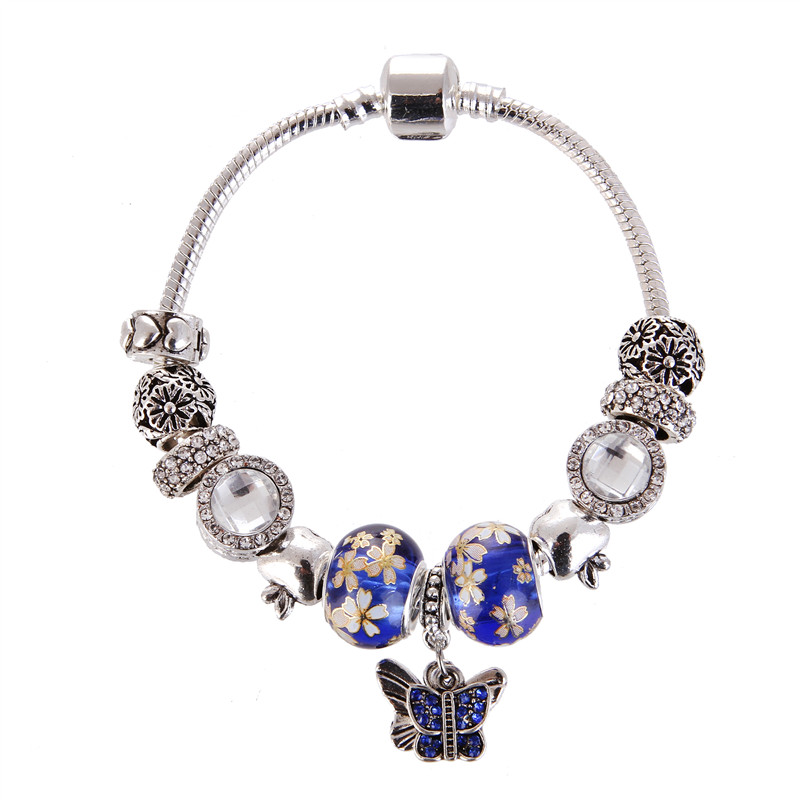 High Quality Royal blue crystal Bowknot Pendant Noble Pretty Charm Bracelet Pandora Bracelet For Women/Gril gift jewelry