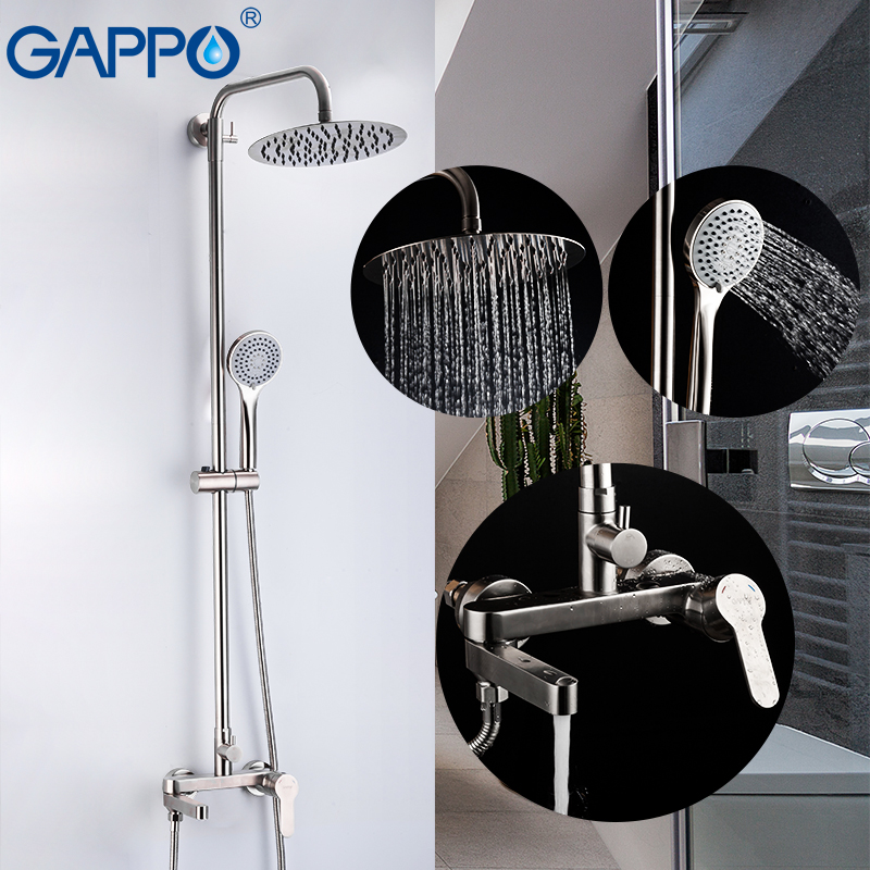 GAPPO Shower Faucets stainless steel bathroom faucet shower set mixer system waterfall faucets