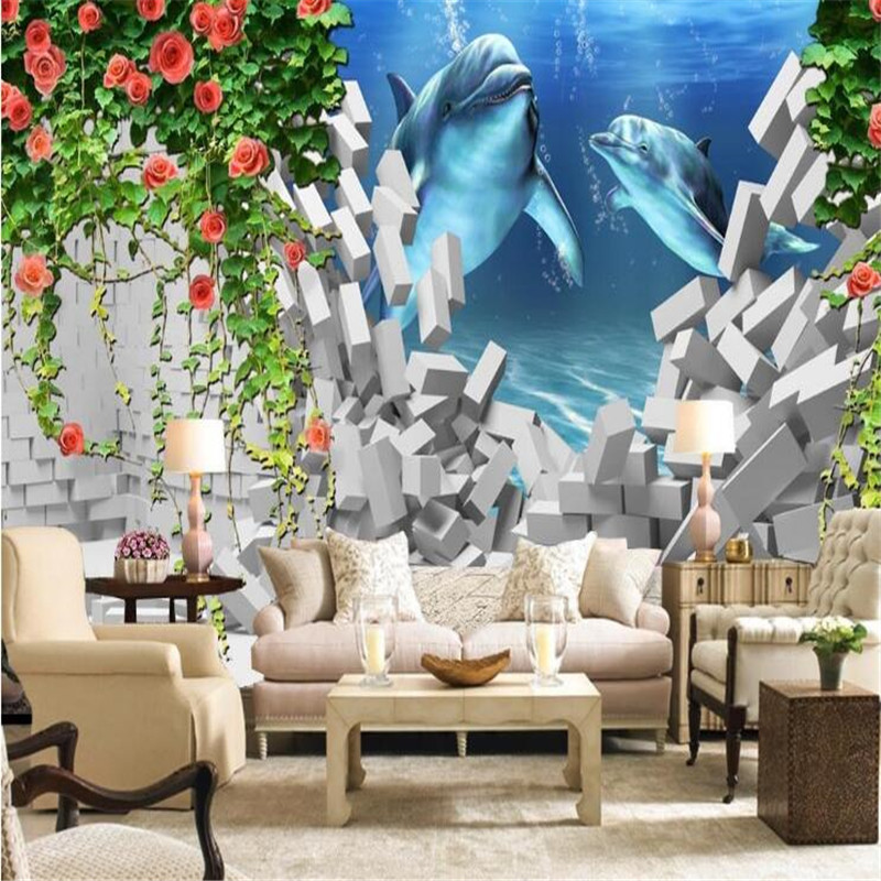 custom modern 3D photo high quality non-woven mural wallpaper rose dolphin living room 3D TV sofa background wall home decor stylish dolphin pattern 3d wall sticker for home decor