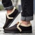 2016 dos homens de Inverno Homens Sapatos de Condução Deslizamento Loafers Fur Plush em Couro PU flats de Camurça couro chaussure homme de marque X082616