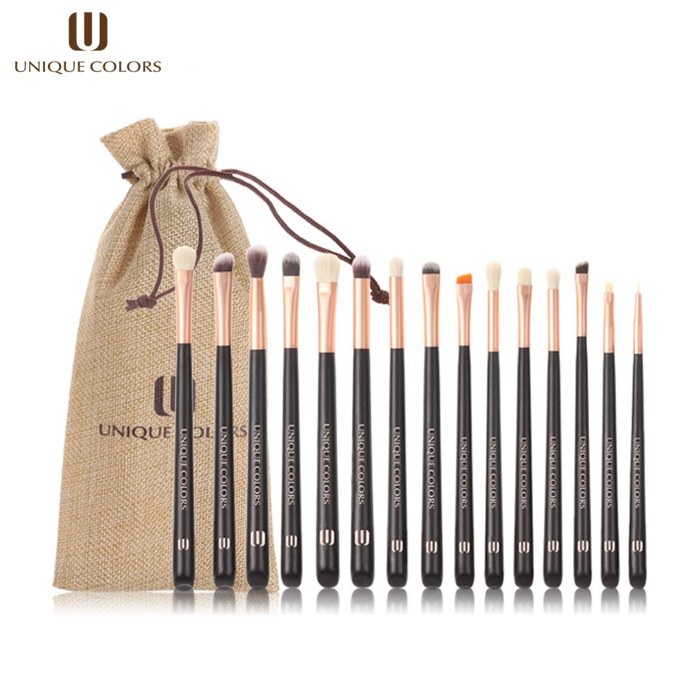 UNIQUE COLORS 15PCS Makeup Brushes Set Professional Eye Eyeshadow Foundation Highlighter Eyeliner Brush Natural Bella Fiber имидж мастер кушетка массажная км 02 механика 33 цвета серебро страус а 632 1301