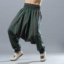 Indian Men Stripe Linen Pants India Nepal Cotton Trousers Man Big crotch Pant Elastic Waist Leisure Yoga Harem Pants