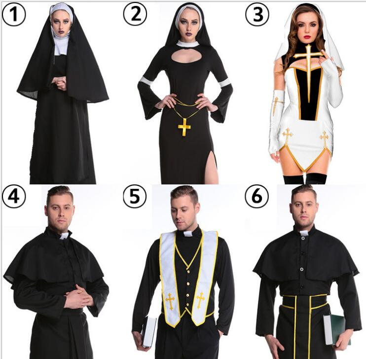 High quality Party Clothing Masquerade Halloween Drama Clergyman Priest Costume Fancy Dress Adult Man Cosplay Colthes
