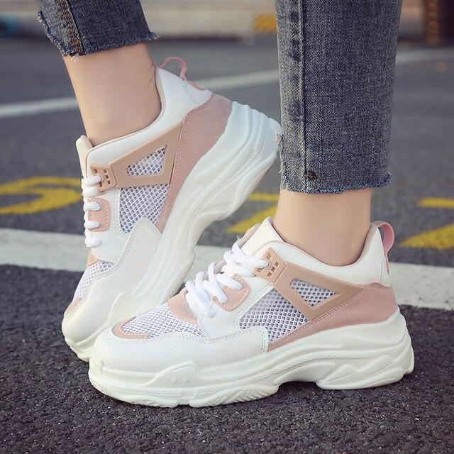 3b79ee5470bf Harajuku autumn casual Women Sneakers Air mesh Breathable shoes Flat  platform Tenis Feminino female Trainers white