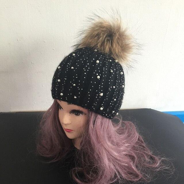 Las mujeres de Piel de Invierno Sombreros Gorros Gorro Diamante Perla  Incrustar Mujer Caps Sombreros De 69c8f6bc785
