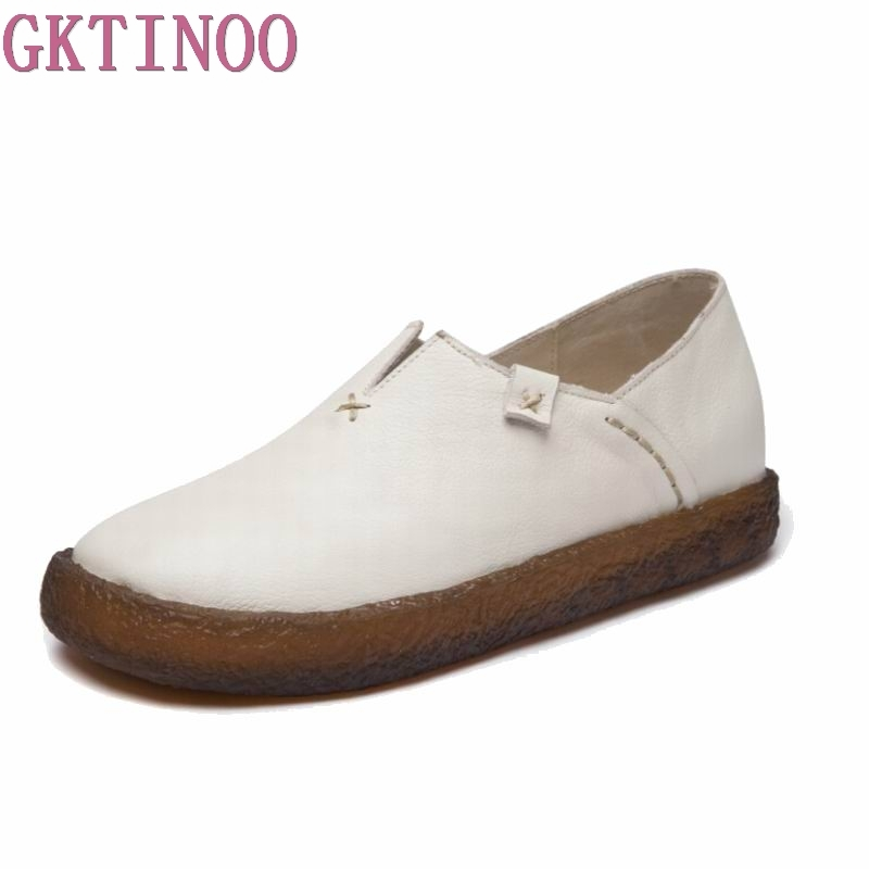 цены New Woman Genuine Leather Flat Shoes Fashion Hand-sewn Leather Loafers Female Casual Shoes Women Flats 2017 Mom Shoes