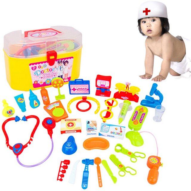 Venta caliente De Plástico Juguetes Educativos 30 Unids/set Pretend Play Doctor Nurse Medical Science Case Kit Para Bebés Niños juegos de Rol
