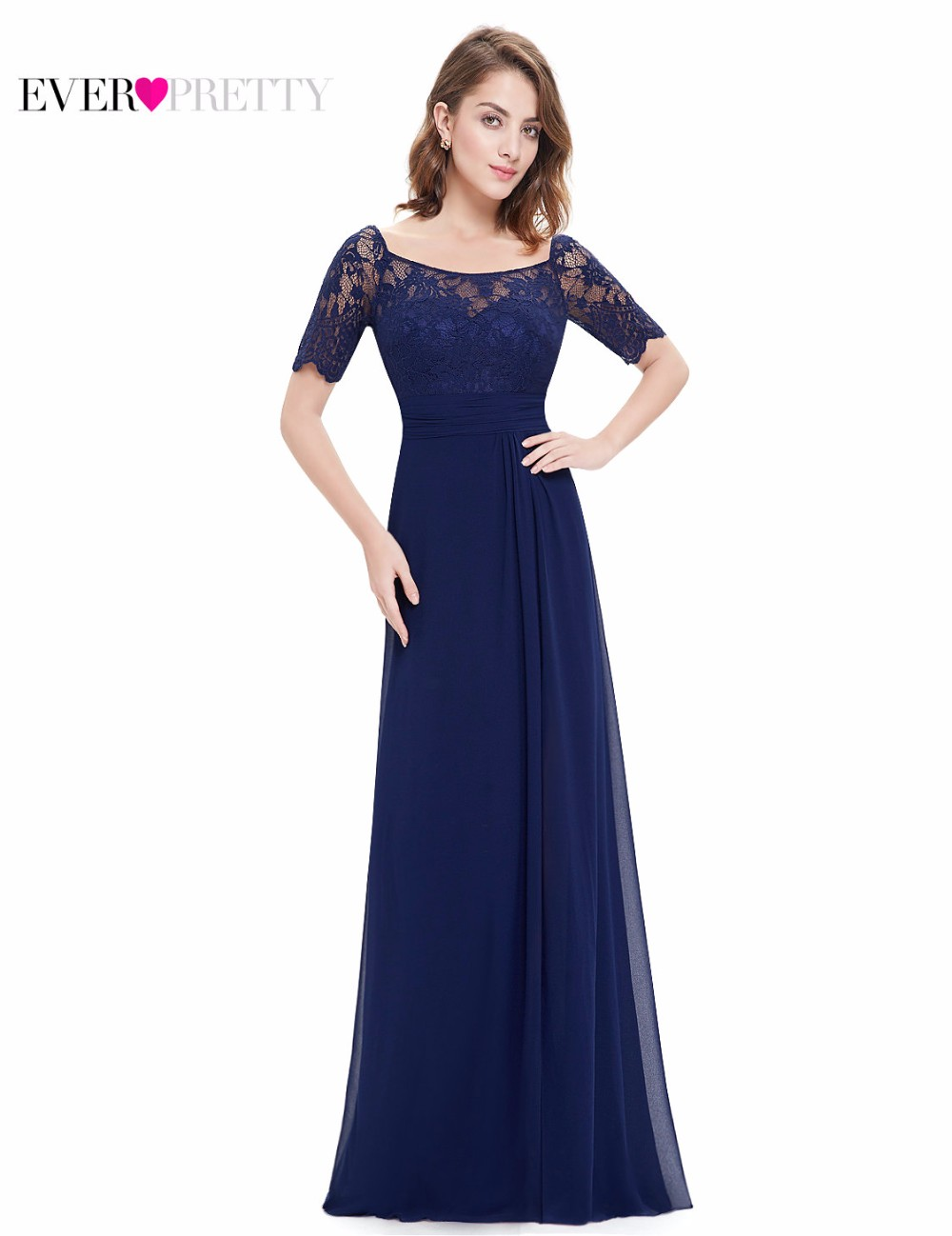 b0aa2150320 Navy Blue Evening Party Dress Ever-Pretty EP08793NB Plus Size New 2018  Short Sleeves Women Long Formal Party Elegant Dresses