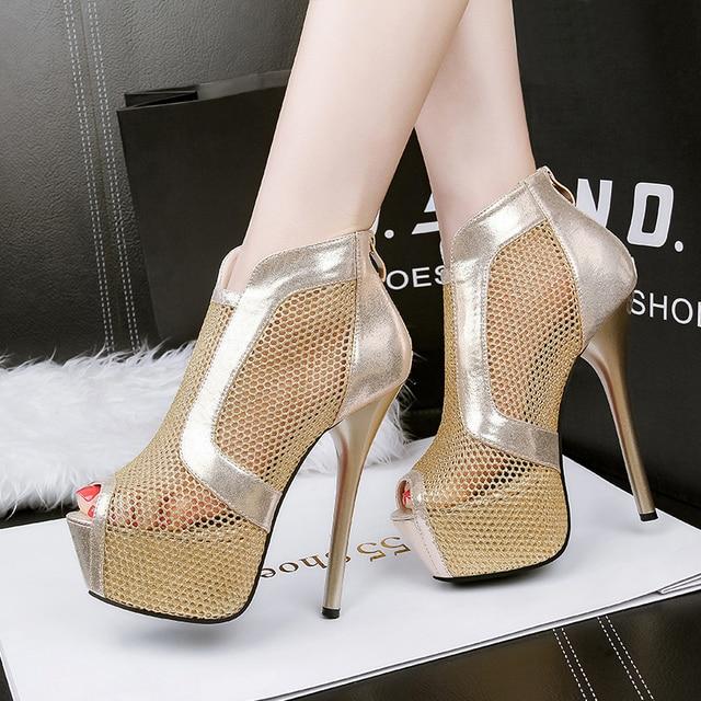 2f7926bb6bf Europe Style Super High Heels Platform Women Shoes Nightclub Female Sandals  Peep Toe Sexy Gladiator Pumps Zipper   Buckle Strap