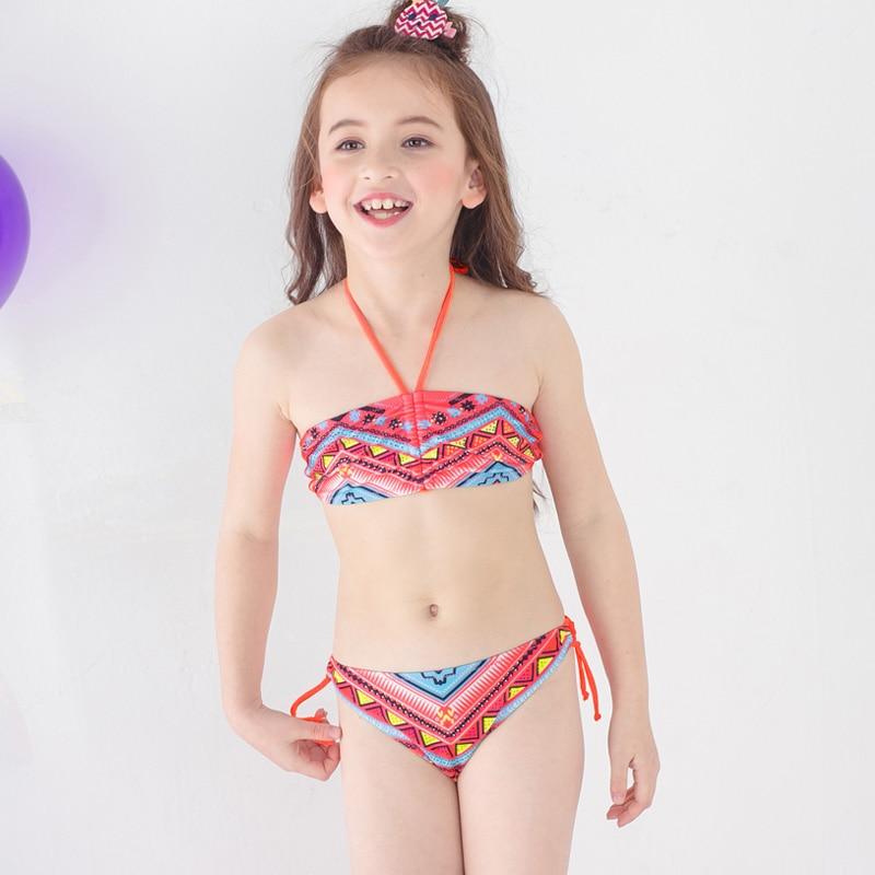 Promoción de ventas seleccione para auténtico liquidación de venta caliente 3-12 años traje de baño para niña de dos piezas traje de baño para bebé  niña Bikini chico traje de baño Halter Top infante chica traje de baño
