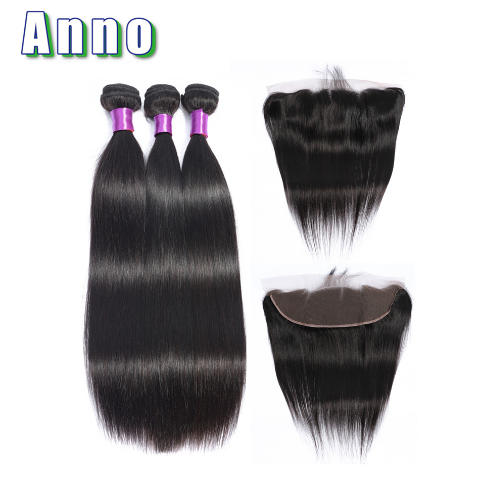 Anno Brazilian Straight Hair Bundles With Closure 2 3 Bundles Hair Weaves With 13 4 Lace