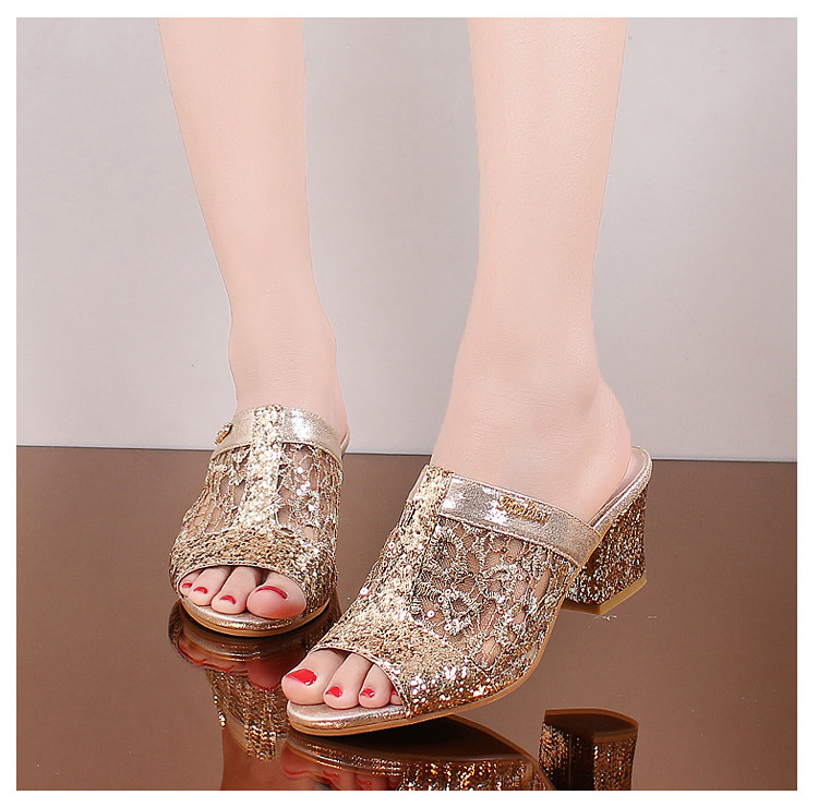 HTB1KBN9gL5TBuNjSspcq6znGFXaT Women sandals 2019 Bling fashion square heel summer lace slippers women sexy Hollow sandals for women size 35-41