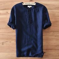 2019 Summer New Casual Linen Mens Tshirt