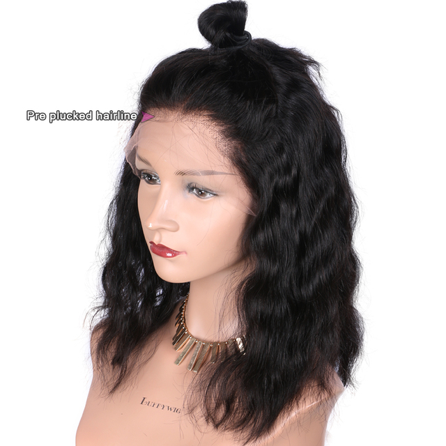 Luffy 13x6 Short Bob Lace Front Wigs Human Hair Natural Wave Indian Non-remy Natural Black Pre Plucked Bleached Knots For Women 3