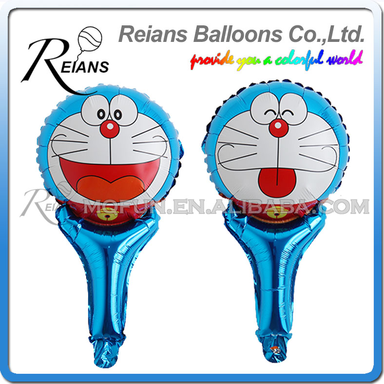 Wholesales 1000pcs REIANS 51cm cartoon children Anime Doraemon strip handhold stick Party aluminum foil balloon party supplies