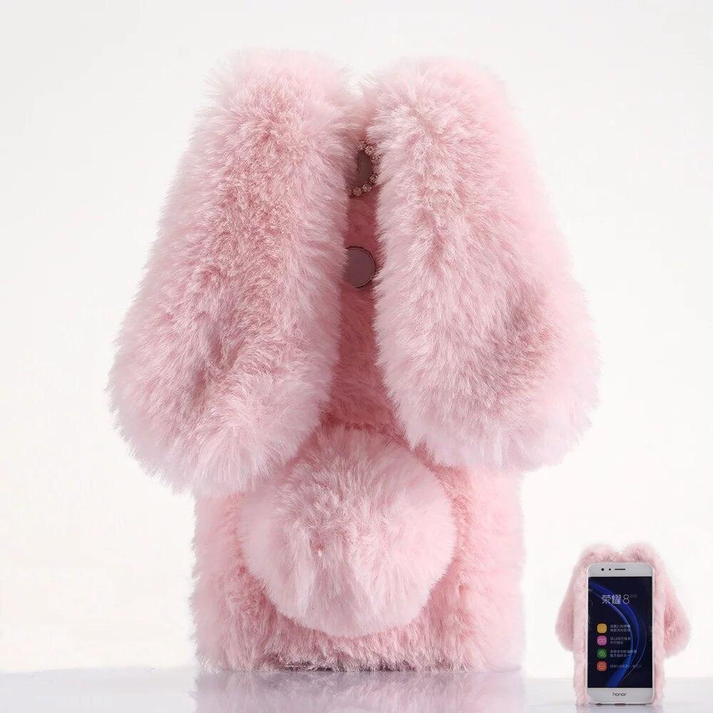 imágenes para Honor 8 Casos de Lujo 3D Precioso Orejas de Conejo Largo del oído rabbite Espalda Huawei Honor 8 Caso cubierta para Fundas para niñas de Color Rosa Negro nh220