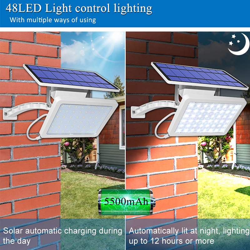 800lm Solar Outdoor Light for with 48 LED With Adjustable Lighting Angle for Garden and Yard Security 5
