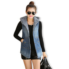 Vrouwen Winter Vest Katoen Gevoerde Capuchon Denim Wiastcoat Single Breasted Pockets Mouwloze Warm Jeans Jas Casual Gilet Femme(China)